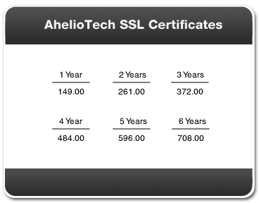 AhelioTech SSL Certificate Pricing Table